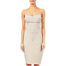 Buy Adrianna Papell Beaded Scuba Strappy Dress, Apricot Creme Online at johnlewis.com