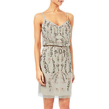 Buy Adrianna Papell Floral Bead Short Blouson Dress, Ivory Online at johnlewis.com
