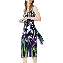 Buy Warehouse Rainbow Ikat Tie Front Dress, Navy Online at johnlewis.com