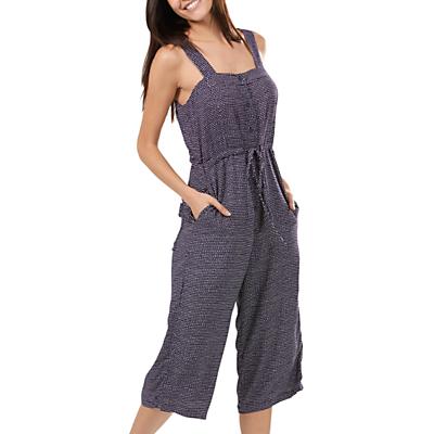 Sugarhill Boutique Eva Wide Leg Apron Jumpsuit, Navy/Off White