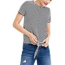 Buy Oasis Stripe Knot Front T-Shirt, Black/White Online at johnlewis.com
