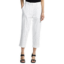Buy Whistles Broderie Cropped Trousers, White Online at johnlewis.com