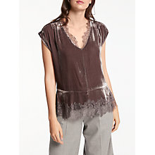 Buy Modern Rarity Velvet Lace Top, Taupe Online at johnlewis.com