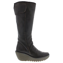 Buy Fly London Yulo Wedge Heeled Knee High Boots, Chocolate Online at johnlewis.com