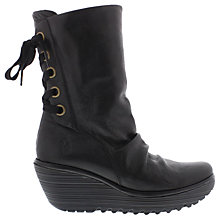 Buy Fly London Yada Wedge Heeled Calf Boots, Black Online at johnlewis.com
