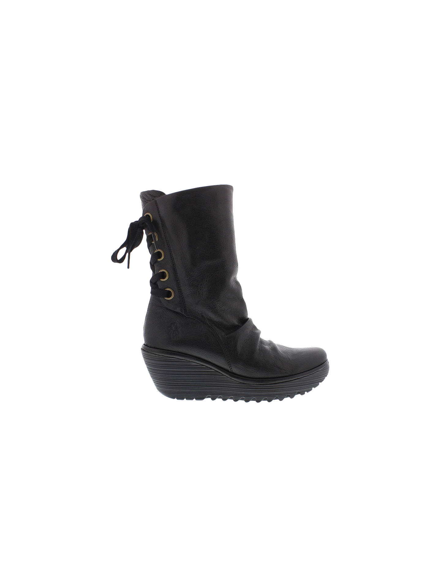 51df6548c4c Fly London Yada Wedge Heel Calf Boots, Black at John Lewis & Partners