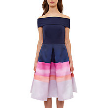 Buy Ted Baker Marina Mosaic Bardot Dress, Navy Online at johnlewis.com
