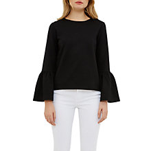 Buy Ted Baker Lolar Frilled Bell Sleeve Top, Black Online at johnlewis.com