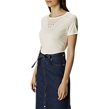 Buy Karen Millen Broderie Lace Back T-Shirt, Ivory Online at johnlewis.com