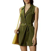 Buy Karen Millen Satin Playsuit, Khaki Online at johnlewis.com