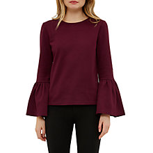 Buy Ted Baker Lolar Frilled Bell Sleeve Blouse, Maroon Online at johnlewis.com