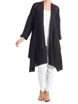 Chesca Mesh Trim Linen Coat