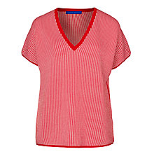 Buy Winser London Cotton V-Neck Coco Top, Hollywood Red/Soft White Online at johnlewis.com