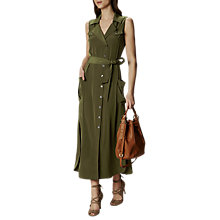 Buy Karen Millen Satin Shirt Dress, Khaki Online at johnlewis.com