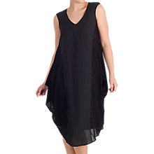 Buy Chesca Mesh Trim Linen Dress, Black Online at johnlewis.com