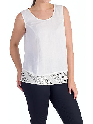 Buy Chesca Mesh Trim Linen Top, White, 12-14 Online at johnlewis.com
