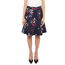 Buy Ted Baker Plio Tropical Oasis Dipped Hem Skirt, Navy Online at johnlewis.com