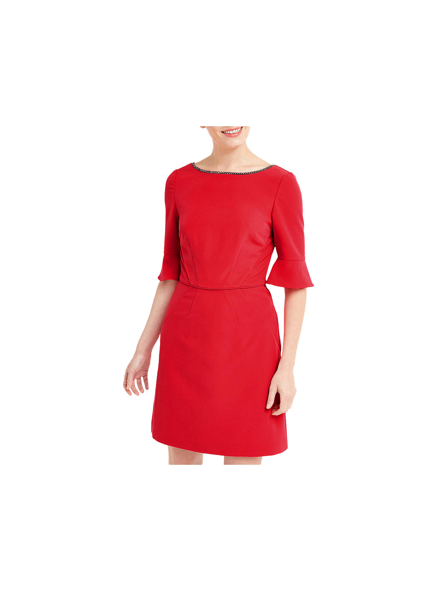 aaffb1089bc757 Buy Oasis Embellished Flute Sleeve Shirt Dress, Rich Red, 6 Online at  johnlewis.