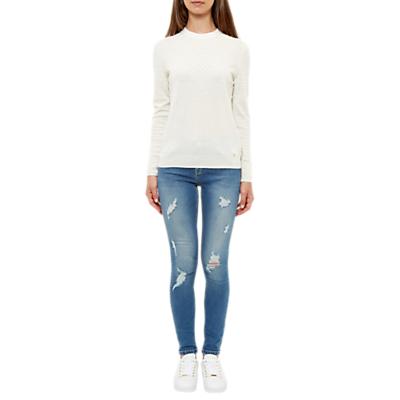 Ted Baker Abrasion Skinny Jeans, Mid Blue
