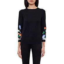 Buy Ted Baker Deyzie Embroidered Jumper, Black Online at johnlewis.com