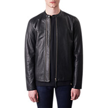 Buy Pretty Green Burridge Leather Biker Jacket, Black Online at johnlewis.com