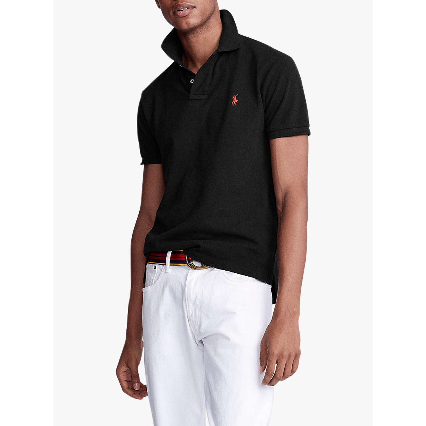 BuyPolo Ralph Lauren Short Sleeve Slim Fit Polo Shirt, Polo Black, S Online  at ...