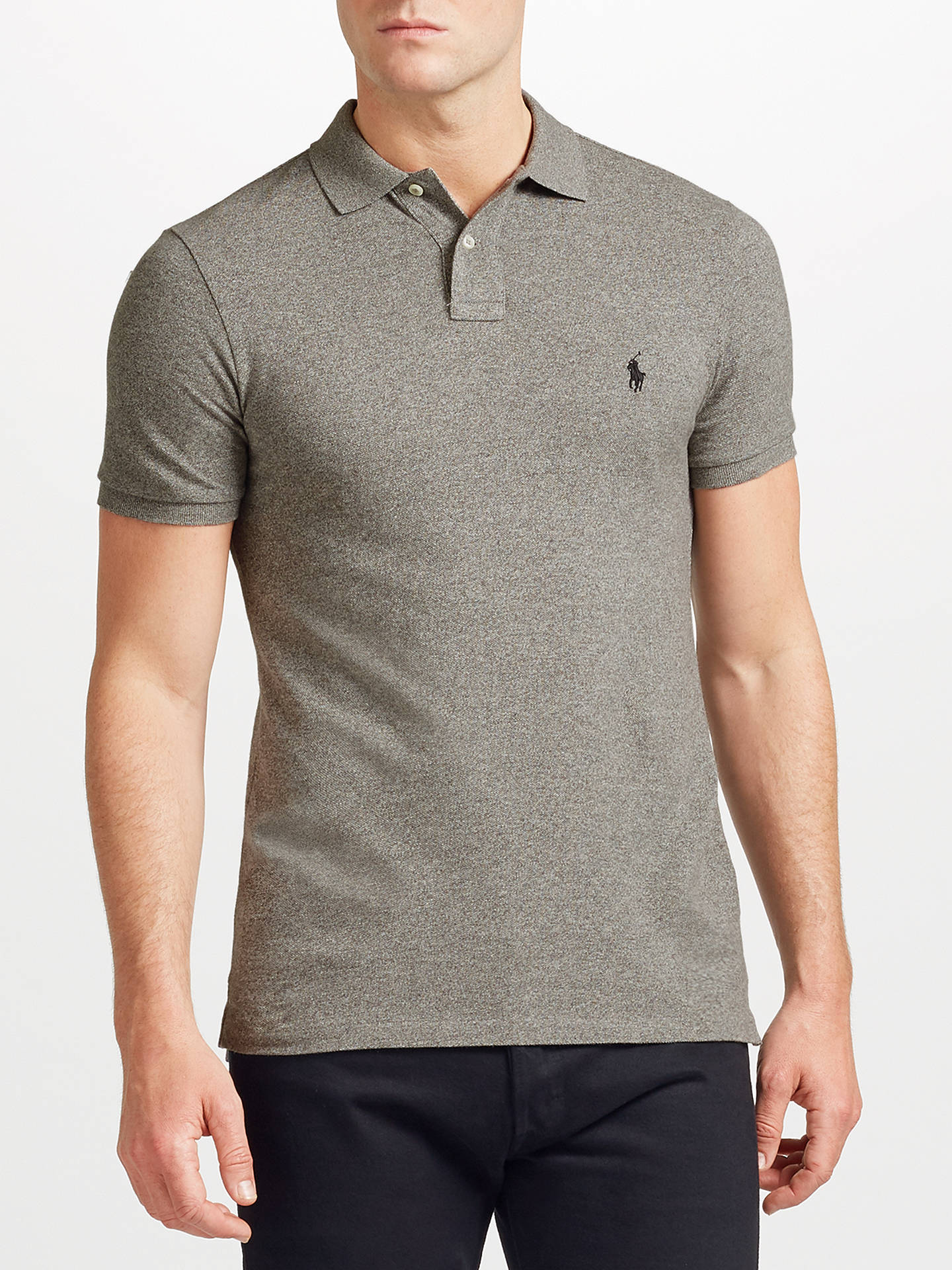 879173007 Buy Polo Ralph Lauren Slim Fit Polo Top, Canterbury Heather, S Online at  johnlewis ...