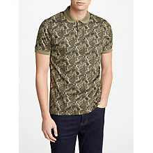 Buy Pretty Green Ryder Paisley Print Polo Shirt, Khaki Online at johnlewis.com