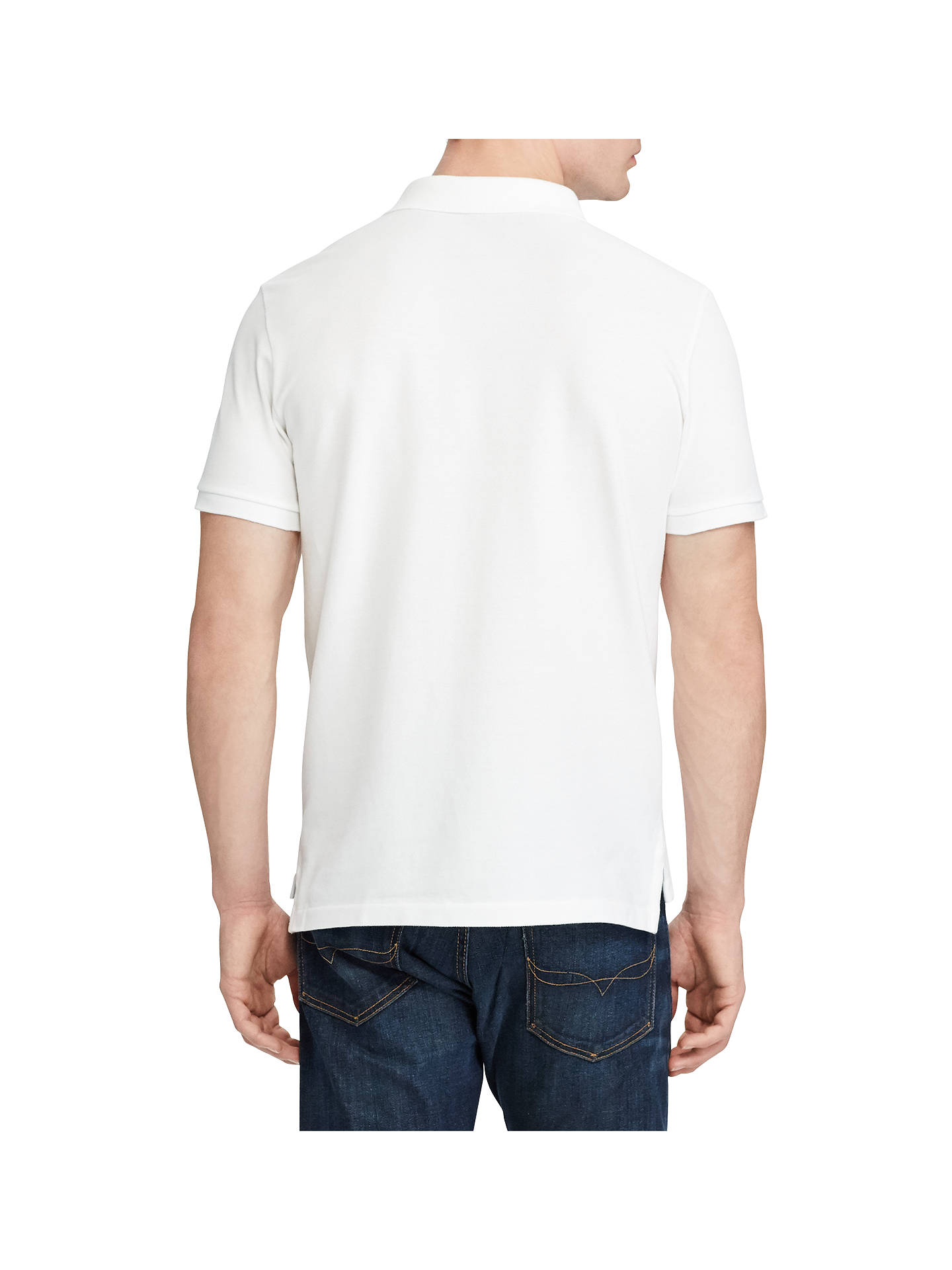 BuyPolo Ralph Lauren Short Sleeve Custom Slim Polo Shirt, White, S Online at johnlewis.com