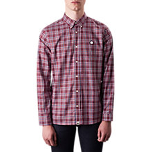 Buy Pretty Green Instow Check Shirt, Burgundy Online at johnlewis.com