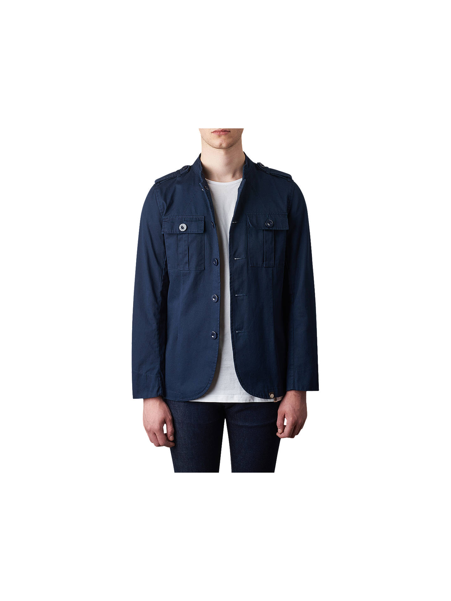 64627593a81f Buy Pretty Green Langford Military Jacket, Navy, S Online at johnlewis.com  ...