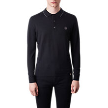 Buy Pretty Green Tilson Knitted Polo Top, Black Online at johnlewis.com