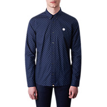 Buy Pretty Green Horlock Long Sleeve Polka Dot Shirt, Navy Online at johnlewis.com