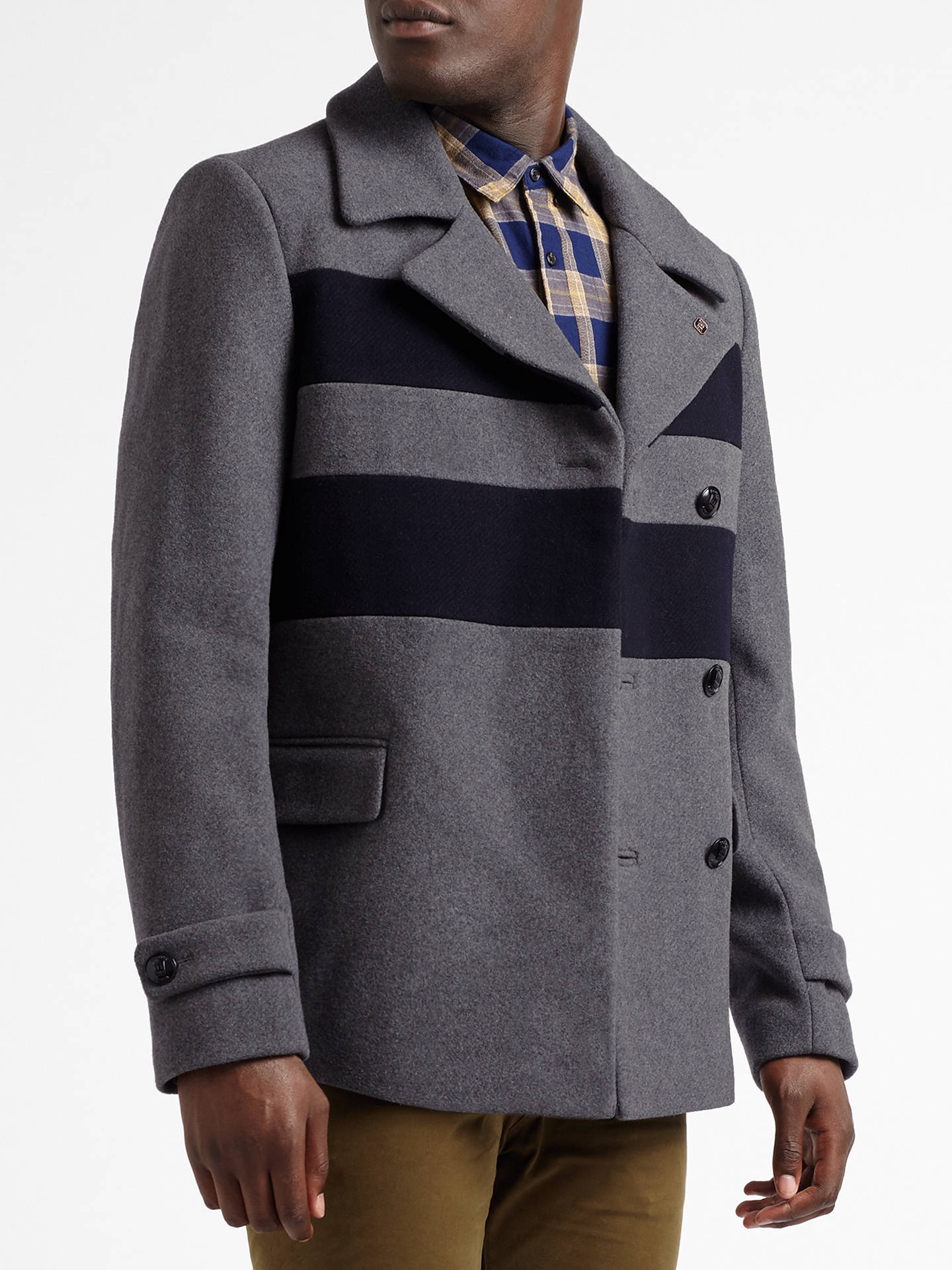 6a36590d Buy Scotch & Soda Double Breasted Caban Peacoat, Graphite Melange, M Online  at johnlewis ...