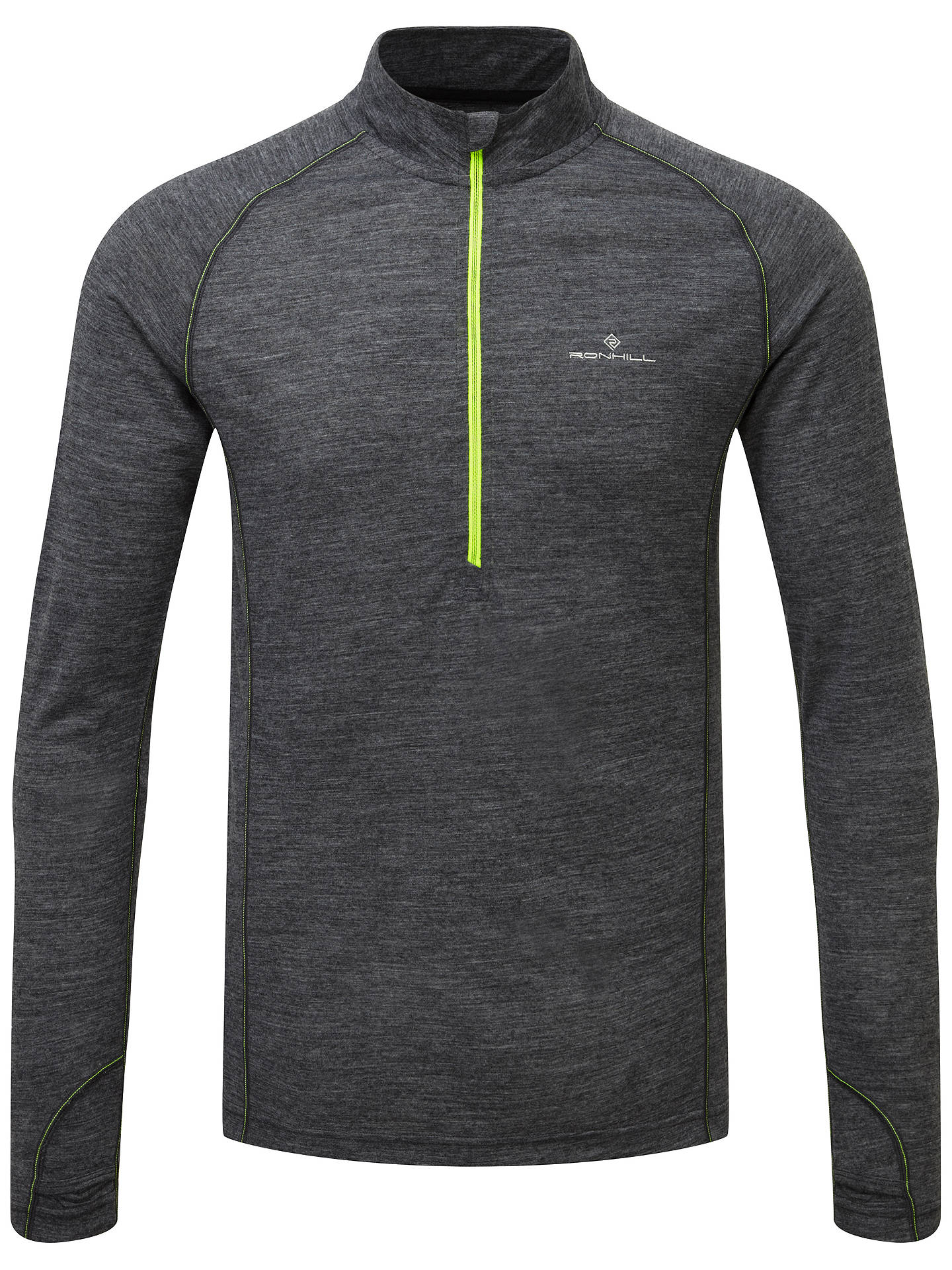 BuyRonhill Infinity Merino Blend 1/2 Zip Long Sleeve Running Top, Grey/Yellow, S Online at johnlewis.com