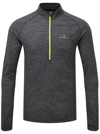 Buy Ronhill Infinity Merino Blend 1/2 Zip Long Sleeve Running Top, Grey/Yellow, M Online at johnlewis.com