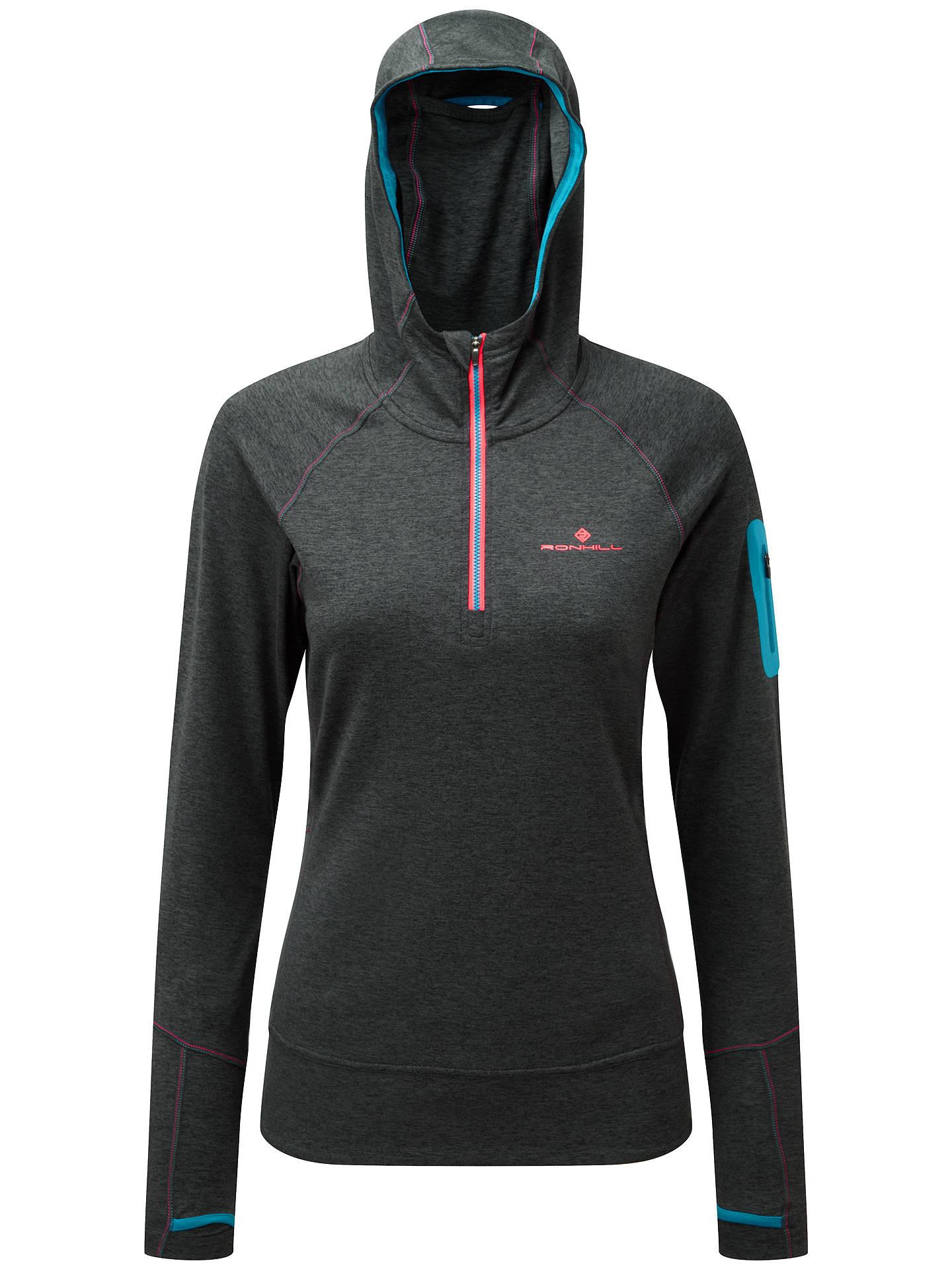 Damen-Sportbekleidung Sportshirt Ron Hill Victory Running Hoody Womens Grey/Blue Jogging Hoodie Shirt Fitness
