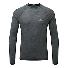 Buy Ronhill Infinity Merino Blend Long Sleeve Running Top, Grey/Orange Online at johnlewis.com