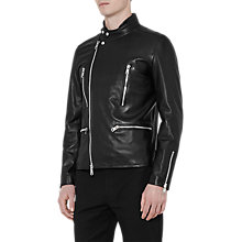 Buy Reiss Rod Leather Biker Jacket, Black Online at johnlewis.com