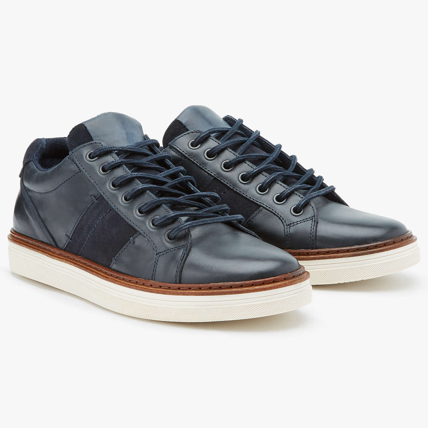 BuyJohn Lewis Stamford Cupsole Leather Trainers, Navy, 7 Online at johnlewis.com