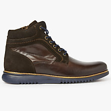 Buy John Lewis Stokey Leather Boot, Brown/Navy Online at johnlewis.com