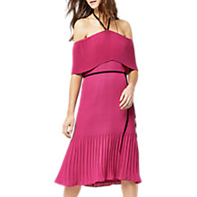 Buy Warehouse Off Shoulder Tie Neck Dress, Bright Pink Online at johnlewis.com