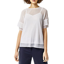 Buy Warehouse Plisse Frill Sleeve Top, Cream Online at johnlewis.com