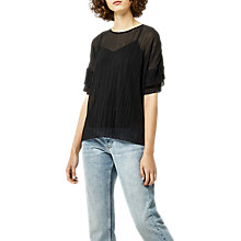 Buy Warehouse Plisse Frill Sleeve Top, Black Online at johnlewis.com