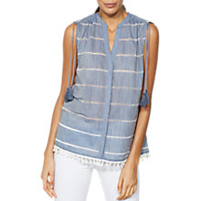 Buy Mint Velvet Chambray Stripe Blouse, Light Blue Online at johnlewis.com