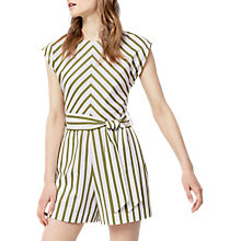 Buy Warehouse Striped Belted Playsuit, Green/White Online at johnlewis.com