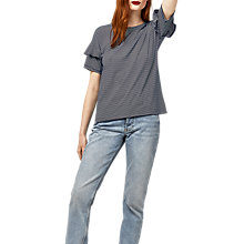 Buy Warehouse Stripe Frill Sleeve T-Shirt, Blue Online at johnlewis.com