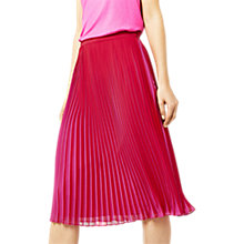 Buy Warehouse Pleated Midi Skirt, Bright Pink Online at johnlewis.com