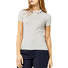 Buy Warehouse Embellished Collar Knit Top, Cream Online at johnlewis.com