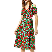 Buy Warehouse Woodblock Daisy Print Swing Dress, Green/Red Online at johnlewis.com